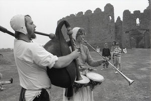 Medieval Musicians, Lanlivery, Cornwall. September 1990