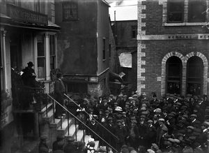 A meeting outside The King of Prussia Inn, Fowey, Cornwall. 1912