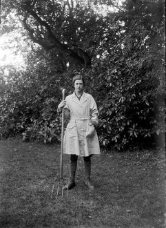 Member of the First World War Women's Land Army. Cornwall. May 1918