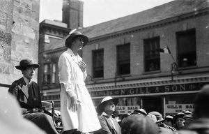 Member of the Women's Land Army making a speech, Boscawen Street, Truro, Cornwall. July 12th 1918