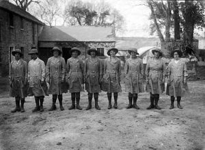 Members of the First World War Women's Land Army at Tregavethan Farm, Truro, Cornwall