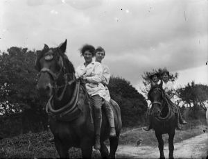Members of the First World War Women's Land Army riding working horses. Cornwall