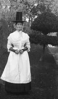 Miss Davies at Trevince, Gwennap, Cornwall. September 1909
