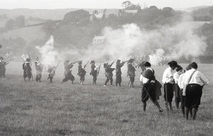 Mock civil war battle, Lostwithiel, Cornwall. June 1980