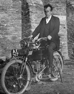 Motorcycle with rider, Cornwall. Around 1910s