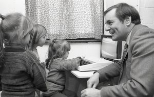 MP visits Playgroup, Lostwithiel, Cornwall. February 1984