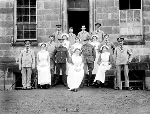 Patients and nurses outside the Royal Cornwall Infirmary, Truro, Cornwall