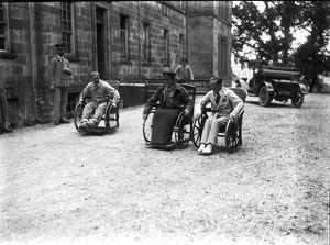 Patients outside the Royal Cornwall Infirmary, Truro, Cornwall. Probably 21st July 1916
