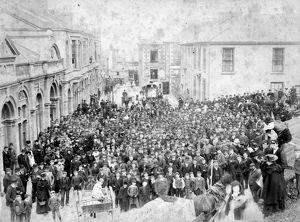 Peaceful demonstration by Miners, Redruth, Cornwall. 25th April 1889