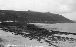 Pendennis Castle, from Castle Beach, Falmouth, Cornwall. Around 1925
