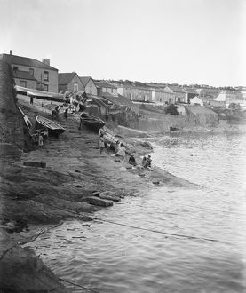 Porthscatho harbour slipway and village, Gerrans, Cornwall. Early 1900s