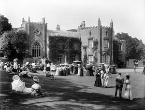 Public event at Prideaux Place, Padstow, Cornwall. Possibly 1899