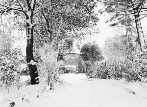 The Rectory under snow, Rectory Road, St Stephen in Brannel, Cornwall. Early 1900s