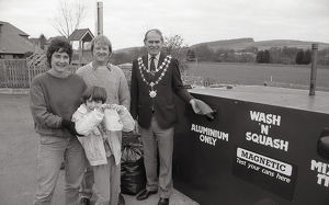 Recycling Bank, Lostwithiel, Cornwall. March 1990