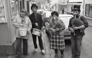 Red Nose Day, Fore Street, Lostwithiel, Cornwall. March 1990