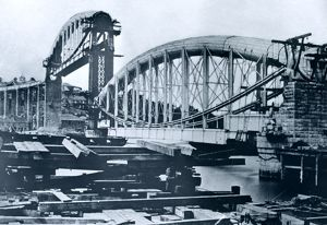 Royal Albert Bridge under construction, Saltash, Cornwall. 1858