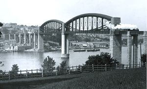 Royal Albert Bridge, Saltash, Cornwall. Around 1900
