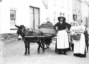 Selling vegetables from a donkey cart, Copperhouse, Hayle, Cornwall. Early 1900s