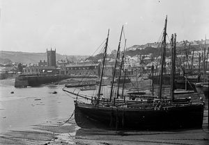 St Ives harbour Cornwall. Early 1900s