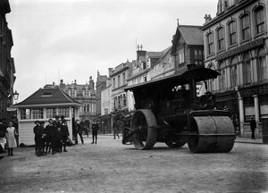 Steam roller outside the Red Lion, Truro, Cornwall. October 1913