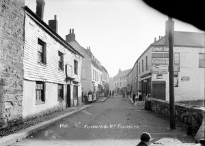 A street scene in Flushing, Cornwall. Early 1900s