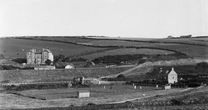 Tennis courts, Perranporth, Cornwall. Early 1900s