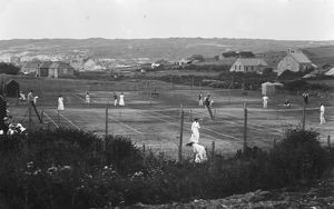 Tennis match, Perranporth, Cornwall. Early 1900s