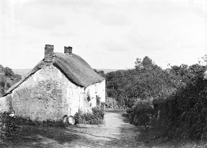 Thatched cottage on Blackydown Lane, Idless, Cornwall. Early 1900s