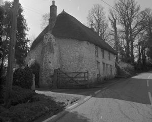 Thatched cottage, Relubbus, St Hilary, Cornwall. 1972