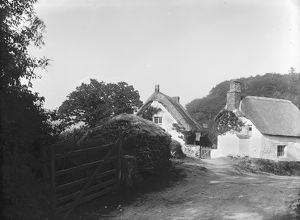 Thatched Cottages near Mawgan, Mawgan in Meneage, Cornwall. 1897