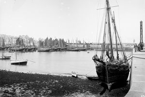 Unidentified ketch moored at West Pier, St Ives Harbour, Cornwall. Early 1900s