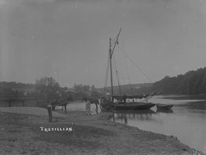 Unloading coal from a barge on the Tresillian River, Tresillian, Cornwall. 1890s