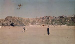View from beach at Newquay, Cornwall. Around 1925