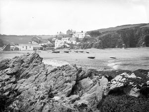 View across the beach to Porthallow, St Keverne, Cornwall, 2nd July 1912