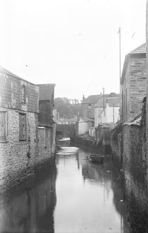 View of bridge over River Allen from Old Bridge Street, Truro, Cornwall. Late 1920s