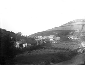 View of Porthallow from the hill, St Keverne, Cornwall. 1897