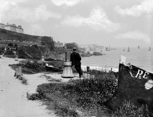 View from Porthminster beach to St Ives, Cornwall. 1903