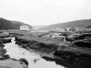 A view down river from Gweek bridge, Cornwall. 12th July 1912