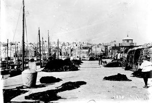 View along Smeaton's Pier towards the town, St Ives, Cornwall. Around 1900