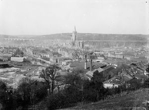 View of Truro, Cornwall, from Polisco over the city. Between 1905 and 1910