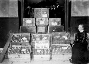 A week's supply of eggs in Truro, Cornwall. August 1915?