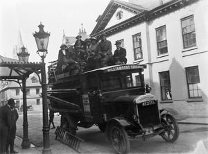 Williamson's double-decker open top motor bus, Princes Street, Truro, Cornwall. 1920