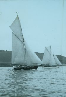 Yachts under sail, probably on the River Fal, Cornwall. Around 1925