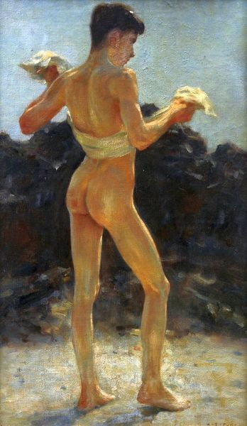 Oil on canvas, Newlyn School, late 19th century / early 20th century. Portrait of a nude adolescent boy drying himself with towel. Henry Scott Tuke was born into a Quaker family in Lawrence Street, York. In 1859 the family moved to Falmouth
