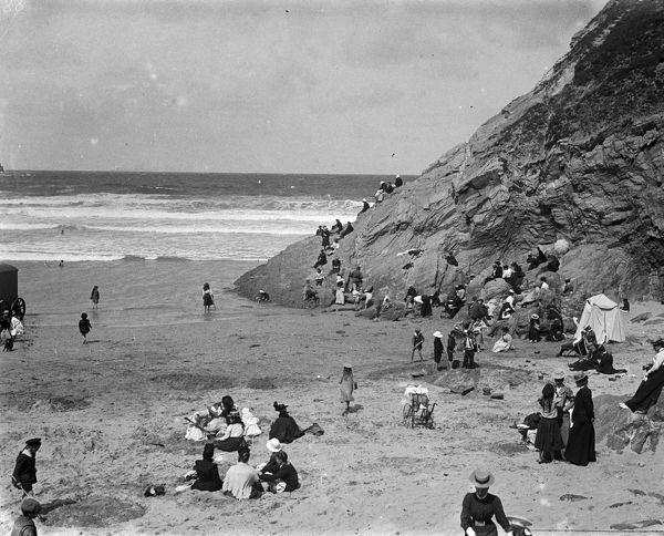 The Beach, Newquay, Cornwall. Around 1910