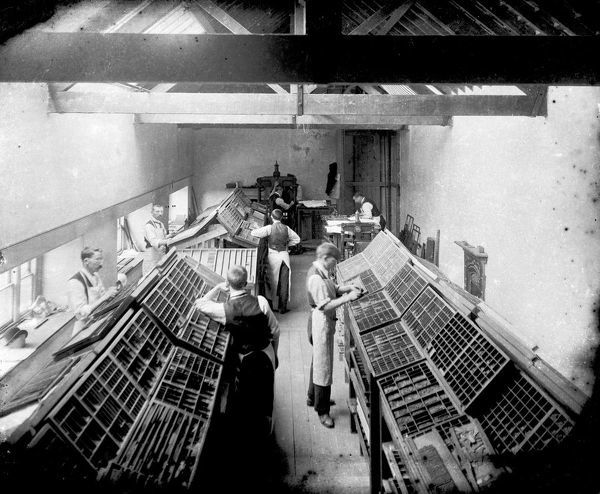 The composing room at Oscar Blackford's printing works at the corner of Quay Street and Prince's Street