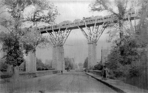 View south down St George's Road of Isambard Kingdom Brunel's original timber fanned viaduct