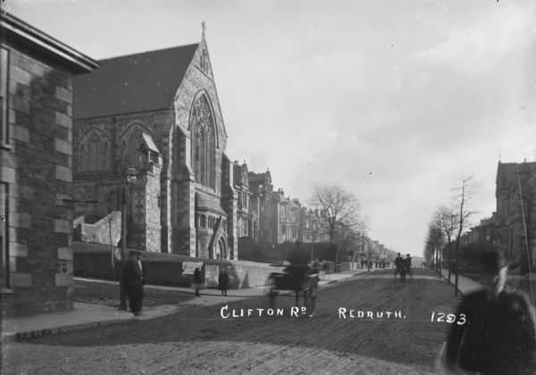 View along Clinton Road, Redruth with St Andrew's church on the left. Photographer: Arthur William Jordan