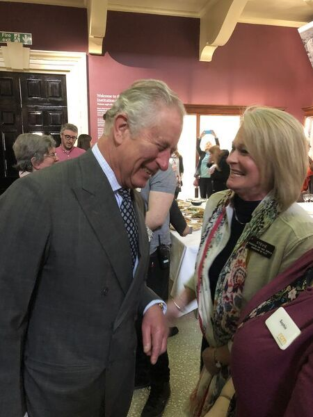 The Duke of Cornwall meets Royal Cornwall Museum's Individual Gifts Manager. The photograph is taken in the Main Gallery. One of a series of images documenting the visit of the Royal Institution of Cornwall's patron, His Royal Highness Prince of Wales