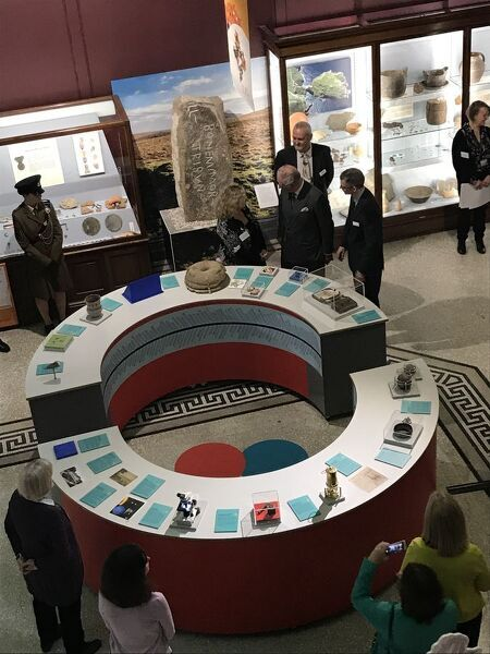The Duke of Cornwall meets the museum's Collections and Exhibitions Manager who talks about the new Cornish Timeline Interactive Touch Table in the Main Gallery